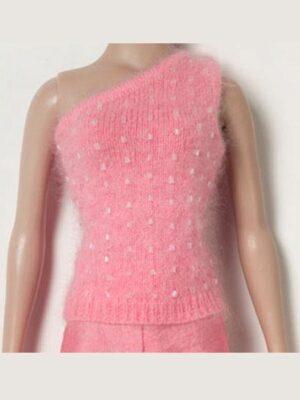 Coral Beaded Angora Goddess Sweater