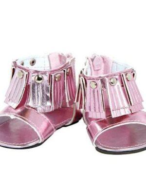 pink fringe sandals