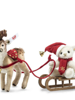Teddy Bear with Reindeer Sleigh Set